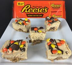 Reese's No Bake Dessert This is a delicious no bake dessert made using Nutter Butters, Reese's peanut butter cups, Reese's Pieces and other Reese's products.