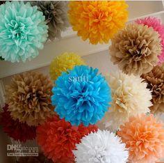 multi cores 12quot; pom pom flores de papel tecido pom poms festa de casamento, decoração de bolas de flor