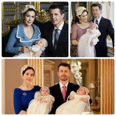 The christening of Crown Prince Frederik and Crown Princess Mary's children  1. Prince Christian in 2005 (top left) 2. Princess Isabella in 2007 (top right) 3. Prince Vincent and Princess Josephine in 2011 (bottom)