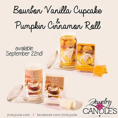 You'll fall in love with our new Fall scents! (see what I did there? haha)  Vanilla Bourbon Cupcake and Pumpkin Cinnamon Roll! Smells so good you'll want to take a bite!  Available September 22nd at jicbyjulie!  #jicbyjulie #jicscents #fallinlove #autumn #bourbon #pumpkin #september #halloween