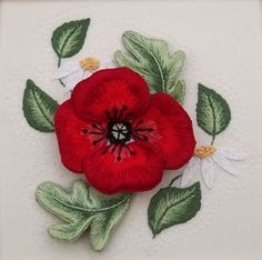 stumpwork embroidery - Poppies