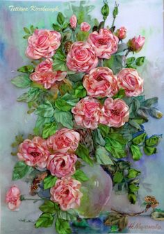 """picture """" Vase with roses 2 """", Silk ribbon embroidery, roses, ribbonwork di SilkRibbonembroidery su Etsy"""