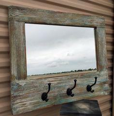 Granero madera espejo Perchero Barnwood por LynxCreekDesigns