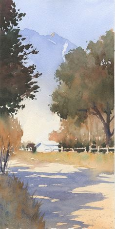 "Michael Reardon Watercolors   Pemberton Farm 14"" x 7"""