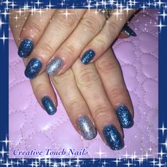 Blue sparkle shellacs with silver accent nail