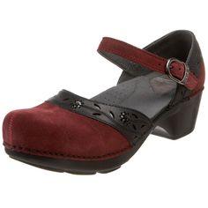 Cute Mary Jane clogs in dark red