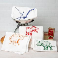 Dish Towels, Tea Towels, Flour Sack Towels, Paper Towels, Hang Tags, Towel Set, T Rex, Kitchen Towels, Screen Printing