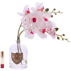Côte Noire Orchid Blossom - Cherry Blossom ($40) ❤ liked on Polyvore featuring home, home decor, pink, french country home decor, floral home decor, handmade home decor, pink home decor and pink bottle
