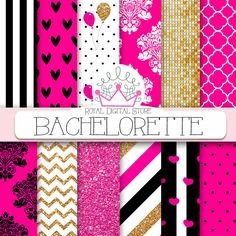 """Pink digital paper: """" BACHELORETTE"""" with pink and gold background, pink scrapbook paper, gold and pink glitter for scrapbooking, cards #pink #gold #partysupplies #glitter #damask #black #polkadots #romantic #planner #digitalpaper #scrapbookpaper #wedding"""