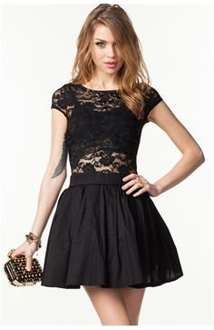 Cap Sleeve Lace Poof Dress