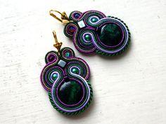 Orecchini soutache viola-verde Crisocolla di SoutacheForYou