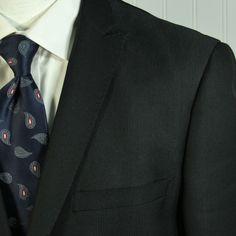 TAZIO Italy Slim Fit Bespoke Black Peak Lapel Jacket Blazer Mens 40 Long Arms #TAZIOItaly #TwoButtonDualVented