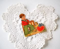 Vintage Valentine Die Cut Easel Type Stand by MomsantiquesNthings