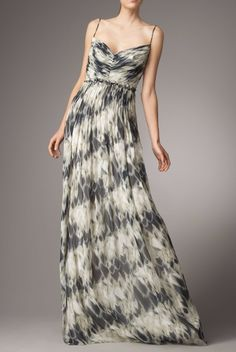 Robert Rodriguez Aliana Animal-Print Silk Dress Gown