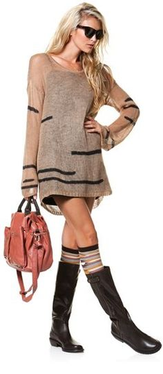 sweater dress with transparent arms, boot socks & boots.