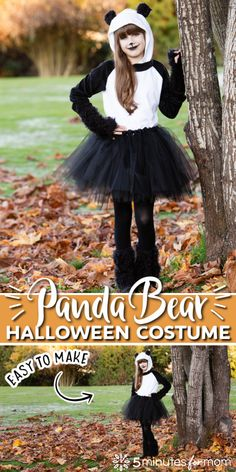 Panda Bear Halloween Costume - How to make a panda bear costume. #diycostume #pandabear #diyhalloweencostume