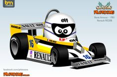 The Great Arnoux F 1, Formula One, Cars And Motorcycles, Hot Wheels, Race Cars, Caricatures, Cartoons, Racing, Sport