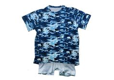 Camouflage T-shirt with Body Vest and Shorts Great for any adventure, your little soldiers would be ready for anything in this stylish tshirt. The camouflage pattern (in blue or green) is perfect for camouflaging any stains they may aquire throught the day whilst the body vest easily secures nappies or pads in place. To aid dressing the left shoulder of the t-shirt can open and can be secured with snap fasteners. The opening means the body vest can easily be placed over the head and then…