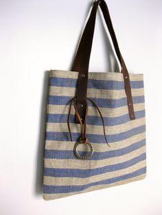 Linen+Tote+Bag+Leather+Straps+by+avivaschwarz+on+Etsy