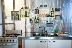 Running short of money during your remodel of your kitchen? Why not try using wine crates.