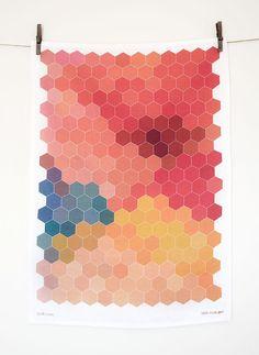 HEXAGON Screen Printed Kitchen Tea Towel by littlemissgee on Etsy