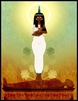 Divine Mother Auset after restoring the body of Ausar that she may give birth to Heru. Art by Sanio