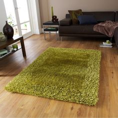 Sable 2 Green   From Rugshop UK   Vista Shaggy Rug   Cream 2236   From