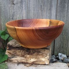Wood Bowl - Cherry Wood Wooden Bowl - Rustic Farmhouse Home Decor - Hand Turned Wood Bowl