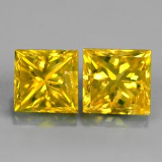 0.34 ct. Noble Pair Yellow 3mm Carré / Princess Cut Diamonds, SI-1 Princess Cut Diamonds, Colored Diamonds, Natural Gemstones, Diamond Cuts, Yellow, Nature, Rhinestones, Fossils, Silver Jewellery