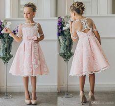Jane Vini Pink Lace Short Sleeve Flower Girl Dresses Knee Length Sheer Tulle Kids Princess First Holy Communion Girls Pageant Dresses 2018