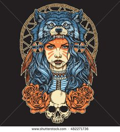 stock-vector-native-american-girl-with-wolf-headdress-full-color-482271736.jpg (428×470)