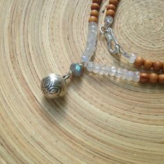 """Silver lotus bell mala necklace with moonstone, labradorite and 108 aromatic sandalwood beads / 17"""" yoga necklace"""