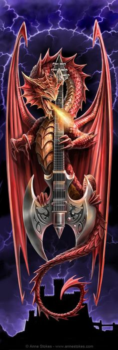 Art by Anne Stokes (Ironshod) Dragon Fantasy Myth Mythical Mystical Legend Dragons Wings Sword Sorcery Art Magic Drache dragon drago dragon Дракон  drak dragão