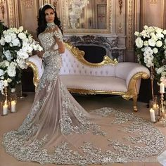 1d6481ee923 Dubai Arabic Luxury Sparkly Wedding Dresses Sexy Bling Beaded Lace Applique  High Neck Illusion Long Sleeves Mermaid Bridal Gowns BA6703