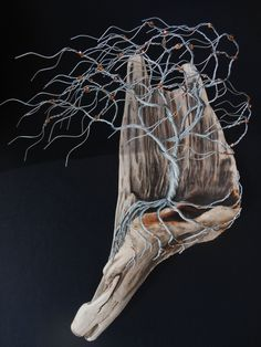Marvelous driftwood piece with Topaz Copper beaded wire tree to be wall hung is 17 inches tall 12 inches wide. Sculpture #160502 by TotallyTwistedTrees on Etsy
