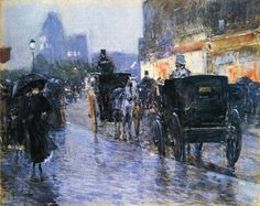 Horse Drawn Cabs at Evening, New York,  Frederick Childe Hassam.  American Impressionist Painter (1859 - 1935)