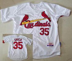 Men's St. Louis Cardinals #35 Greg Garcia White Home Stitched Baseball Jersey