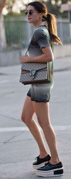 #summer #trending #style | Little Stripe Dress + Black Platform Oxfords