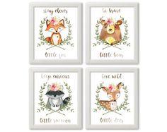 Set of 4 Woodland Animals Prints Nursery Girl Forest Animals