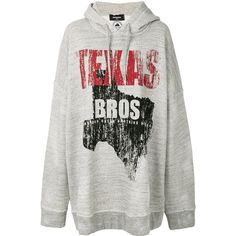 Dsquared2 Texas Bros oversized hoodie (2.225 BRL) ❤ liked on Polyvore featuring tops, hoodies, grey, grey hoodie, sweatshirt hoodies, hooded hoodie, gray hooded sweatshirt and cotton hoodies