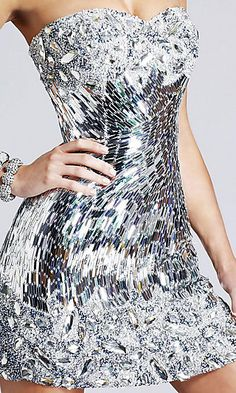 Shiny Silver Disco Ball Dress... you'd look like a rainbow of light on the floor.