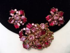 Miriam Haskell Vintage Brooch Earrings Pink Red Glass Rhinestone Flower Gold Plate Pin Set