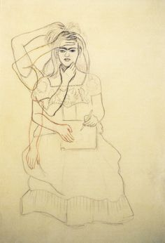Self-portrait drawing, Frida Kahlo, 1937, art.