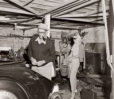 Shortly after their 1956 wedding, Marilyn Monroe and her second husband, playwright Arthur Miller, stand in the unkempt garage of their Roxbury, Connecticut, estate. The house itself had been built in 1783, and Monroe and Miller added sliding glass doors to its rear façade and created a one-room studio where the playwright could work.