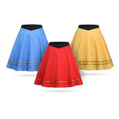 Part of the ThinkGeek Star Trek Collection by Her Universe, these adorable Star Trek TOS Uniform Skirts come in Blue/Sciences/Commander, Gold/Command/Captain, and Red/Engineering/Lieutenant.