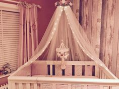Handmade bed canopy Pink Grey and White perfect for girly Nursery's
