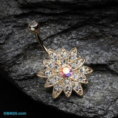 Golden Chrysanthemum Flower Belly Button Ring by BM25Jewelry