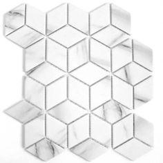 These mosaic tiles consist of diamond-shaped pieces, creating the illusion of hexagons. Made from porcelain, these trendy Gloss marble effect Mosaic Tiles are long lasting and durable, and can be used on both walls and floors. Their marble. Floor Colors, Wall Colors, Mosaic Tiles, Wall Tiles, Mosaics, Tiles Direct, Trucks Only, Happy First Birthday, Stills For Sale