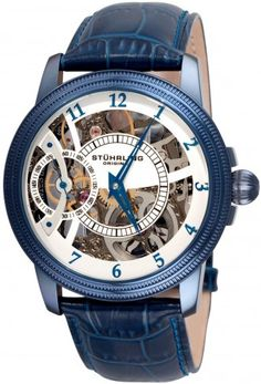Stuhrling Original Men& Symphony Saturnalia Brumalia Mechanical Skeleton Blue Watch * Continue to the product at the image link. Fine Watches, Cool Watches, Watches For Men, Men's Watches, Fashion Watches, Fashion Moda, Mens Fashion, Automatic Skeleton Watch, G Watch