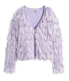 Lavender long-sleeved cardigan with fringe. | H&M Pastels